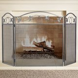 Amagabeli 3-Panel Pewter Wrought Iron Fireplace Screen