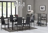 IDS Online 7 Piece Modern Glass Dining Table with 6 Chairs