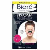 Bioré Charcoal Deep-Cleansing Nose Strips for Blackhead Removal, Pack of 18