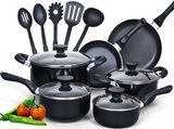 Cook N Home 15-Piece Nonstick Stay-Cool Handle Cookware