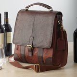 Wine Enthusiast 3-Bottle Leather Wine Tote
